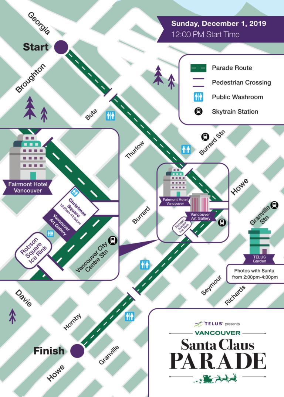 밴쿠버 산타클로스 퍼레이드 지도